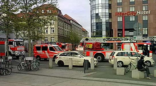 Feuerwehr am Erfurter Hauptbahnhof - Foto: www.bahnhof-erfurt.de
