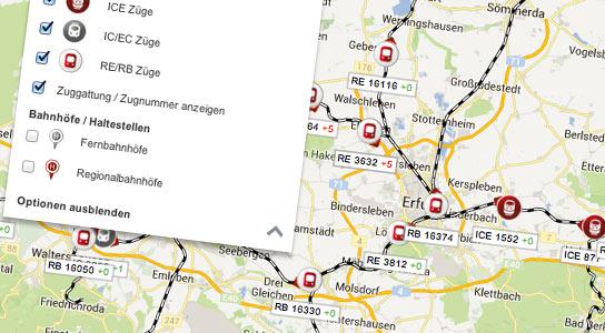 Zugradar-Livefahrplan informiert über Verspätungen - Bahnhof-Erfurt.de